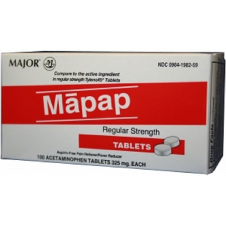 014MJRX MAJOR MAPAP 325MG TAB BOXED ACETAMINOPHEN-325 MG White 100 TABLETS NDC 00904-1982-59 (PACK of 2)