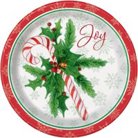 Candy Cane Christmas Paper Dinner Plates, 9in, 8ct