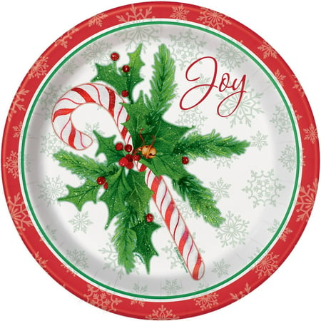 Candy Cane Christmas Paper Plates, 9 in, 8ct