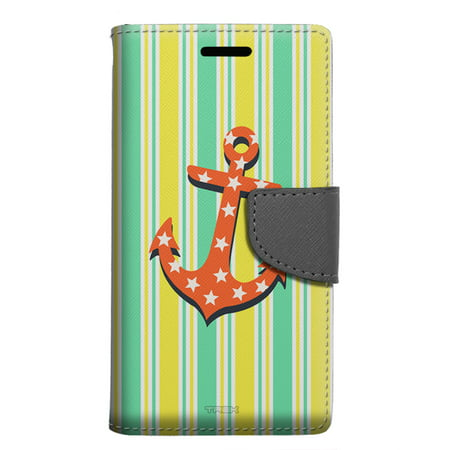 Google Pixel 2 Wallet Case - Anchor on Yellow Stripes Case