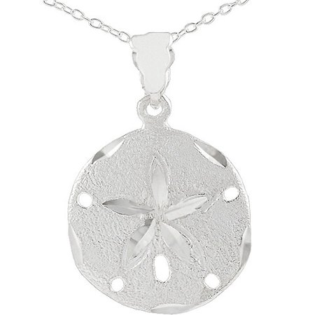 Brinley co large sterling silver sand dollar pendant 18 walmart large sterling silver sand dollar pendant 18 aloadofball Image collections