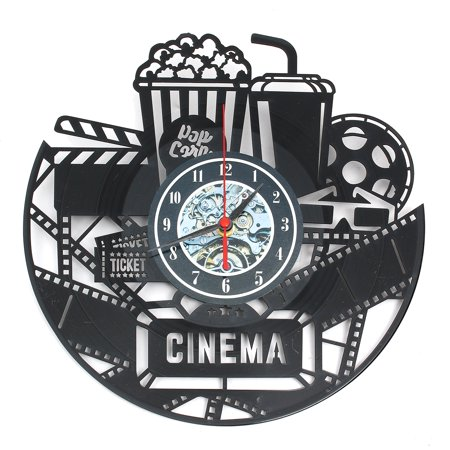 Home Theater Cinema and Popcorn Vinyl Record Wall Clock Movie Film Time Clock Watch Room Wall Decor Wall Art Gift for Movie Lover Gift Idea for a Best