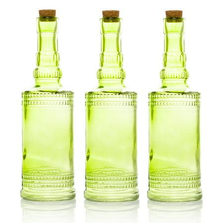 BULK PACK (3) Camila Green Vintage Glass Bottle Wedding Flower Vase ()