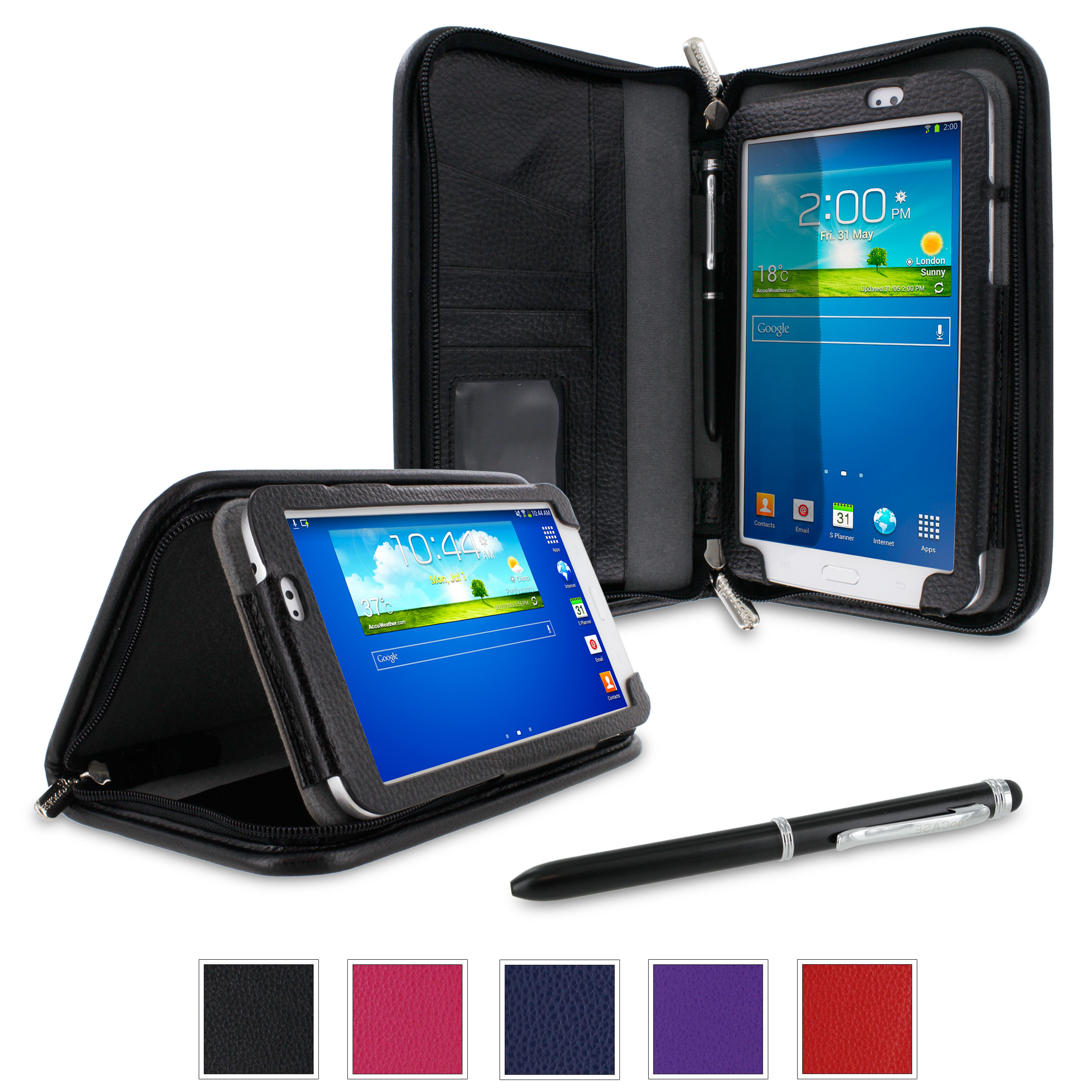 "rooCASE Samsung Galaxy Tab 3 7.0 Case - Executive Portfolio Leather 7-Inch 7"" Cover with Landscape, Portrait, Typing Stand, Hand Strap - BLACK"