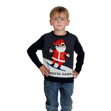 Children's GANGSTA SANTA Christmas Sweater Navy - Santa Uniform