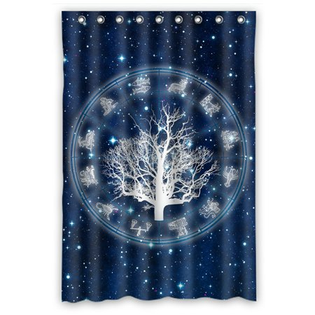 PHFZK Tree Of Life Shower Curtain Astrology Chart With All Zodiac Signs Polyester Fabric Bathroom 48x72 Inches