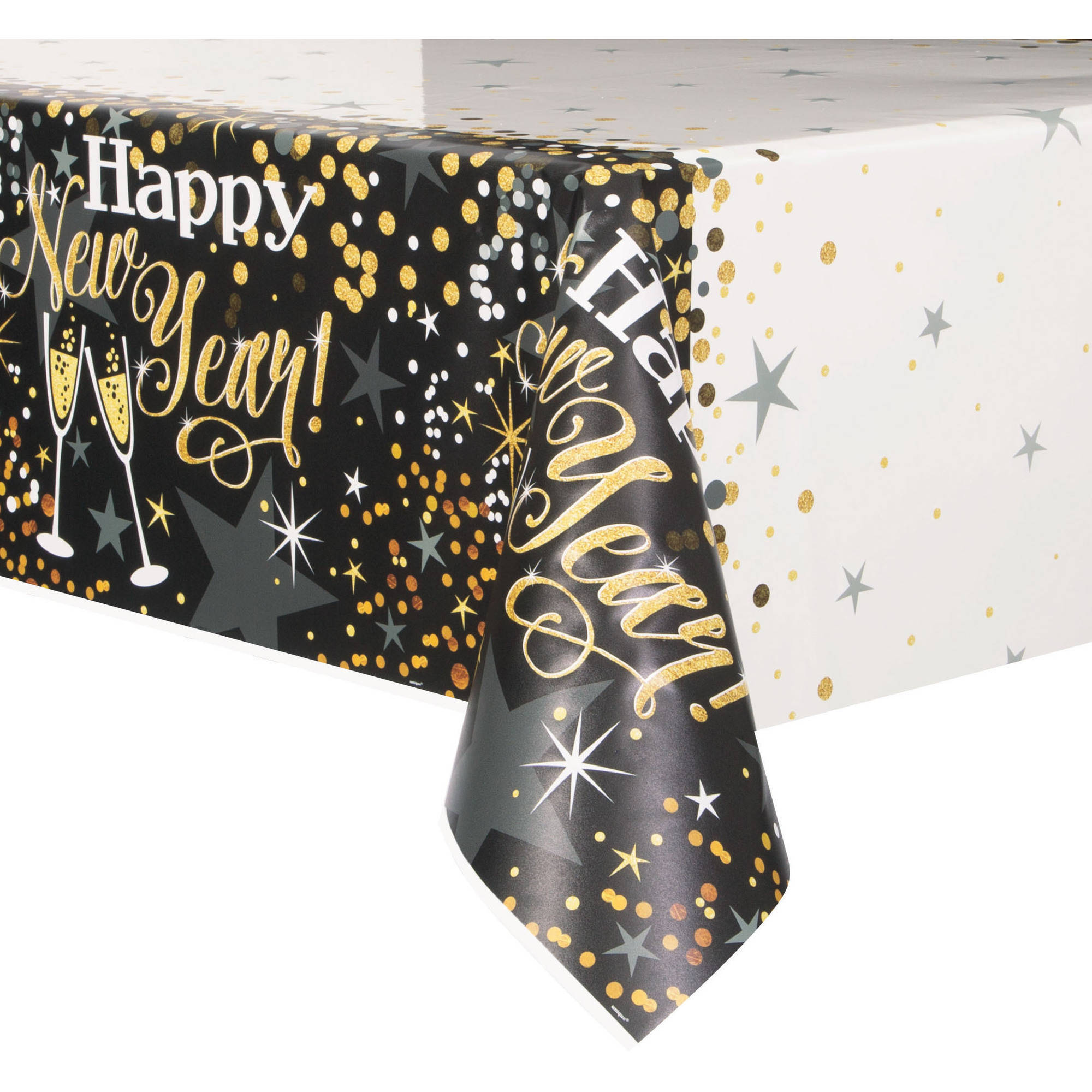 "(3 Pack) Plastic Glittering New Years Eve Table Cover, 84"" x 54"""