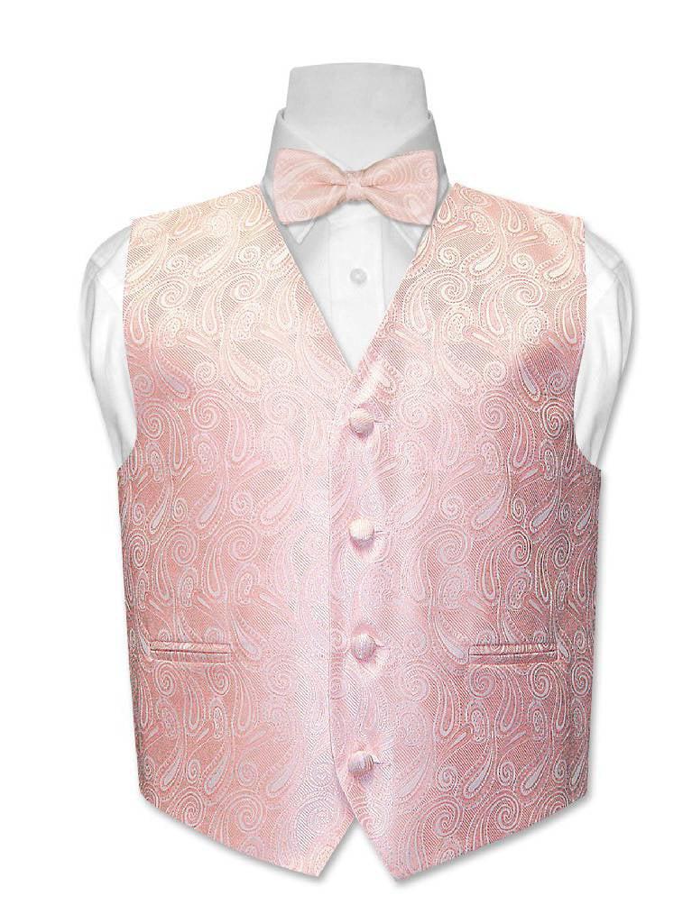 Covona BOY'S Paisley Dress Vest BOW TIE Solid PEACH Color BowTie Set size 12