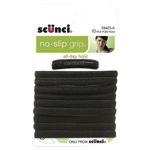 Scunci No Slip Elastic Hair Bands, Black 10 ea (Pack of 4)