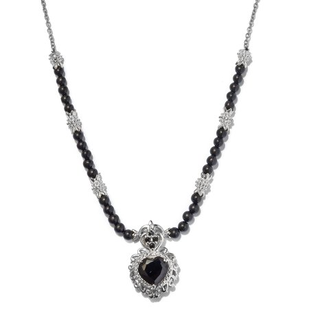 """Bead Strand Necklace Heart Gift Jewelry for Women Size 18"""" (Smoky Quartz/Black Spinel)"""
