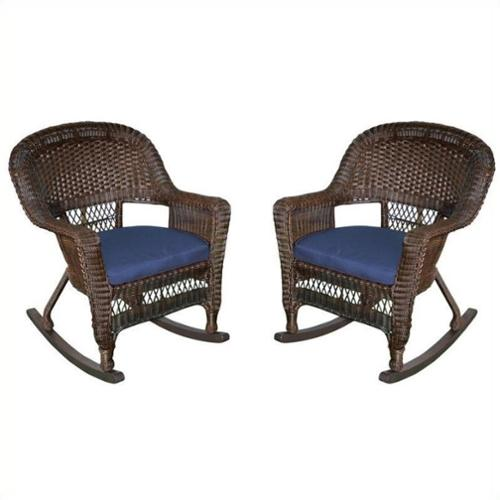 Jeco Rocker Wicker Chair in Espresso with Blue Cushion (Set of 2)