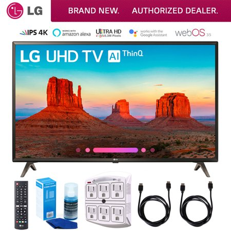"LG 49UK6300 49"" UK6300 Smart 4K UHD TV (2018) Includes Cleaning Kit HDMI Cables & 6-Outlet Surge Adapter (49UK6300PUE 49UK6300P 49UK6300)"