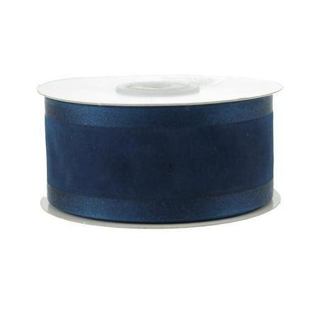 Satin-edge Sheer Organza Ribbon, 1-1/2-inch, 25-yard, Navy Blue