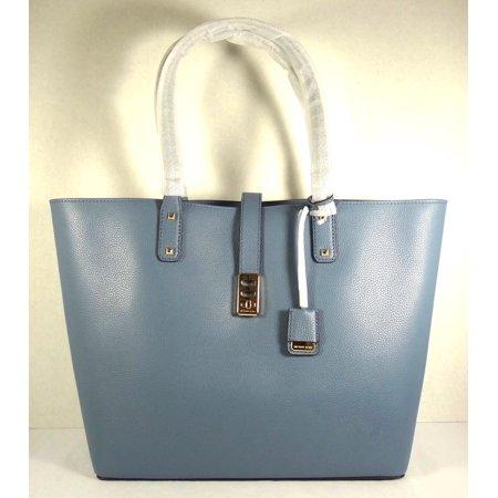 Michael Kors Karson Denim Pebbled Leather Large Carryall Tote Bag - Pebble Leather Large Tote Bag