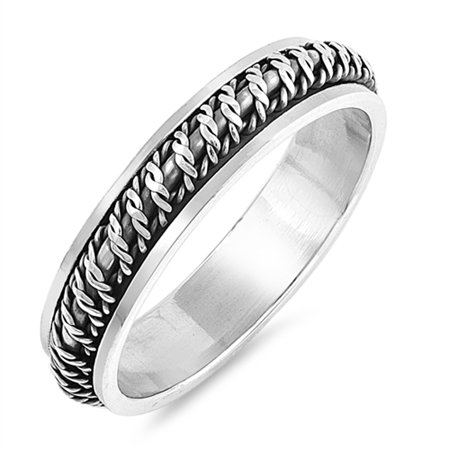 Antiqued Barb Wire Spinner Knot Wedding Ring 925 Sterling Silver Band Size 12