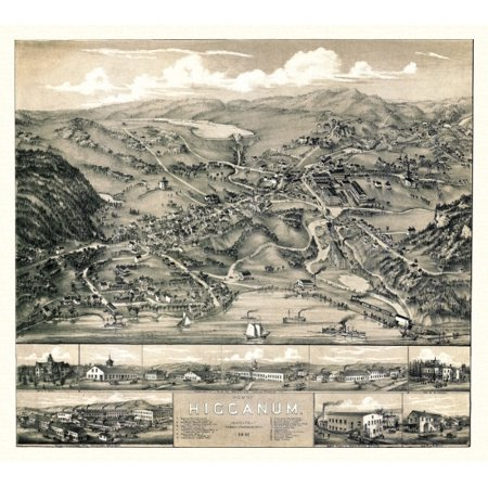 Historic Map of Higganum Connecticut 1881 Middlesex County Canvas Art - (24  x 36)