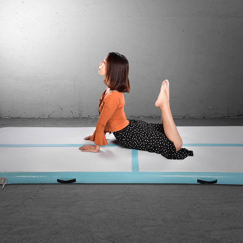 Ashata Inflatable Air Pad Floor Home Gym Gymnastics Training Tumbling Mat with Pump US Plug, Air Floor, Air Tumbling Mat