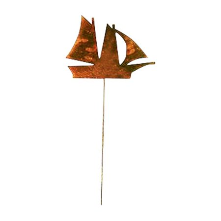 Village Wrought Iron RGS-12 Sail Boat - Rusted Garden Stake ()
