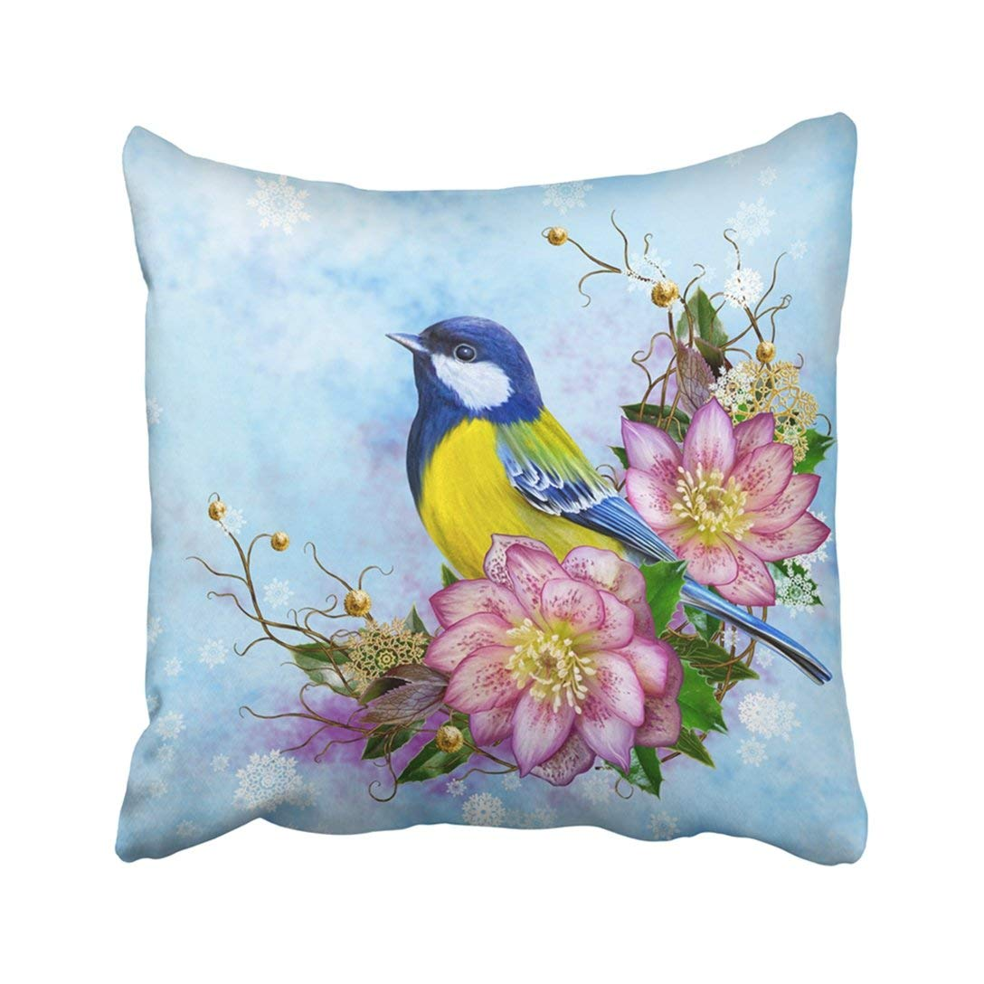 WOPOP The Bright Bird Tit Pink Flower Hellebore Weaving From Twigs Gold Ornaments Winter Pillowcase Throw Pillow Cover Case 20x20 inches