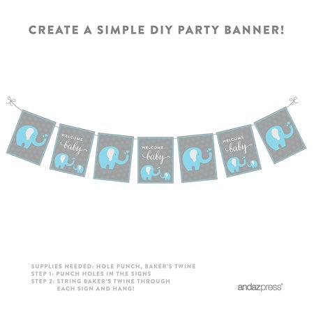 Boy Elephant Baby Shower Party Signs & Banner Decorations, 20-Pack](Boy Baby Shower Decor)