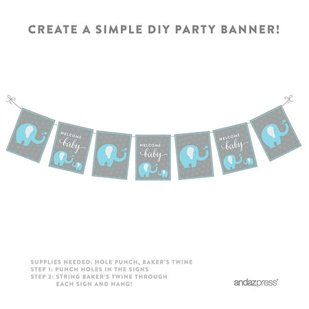 Boy Elephant Baby Shower Party Signs & Banner Decorations, 20-Pack - Elephant Baby Shower Theme Boy