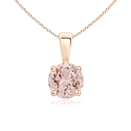 a899496452879 Prong Set Round Morganite Solitaire Pendant in 14K Rose Gold (6mm  Morganite) - SP0108MG-RG-AAA-6