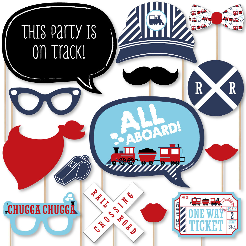 Railroad Party Crossing - Steam Train Birthday Party or Baby Shower Photo Booth Props Kit - 20 Count