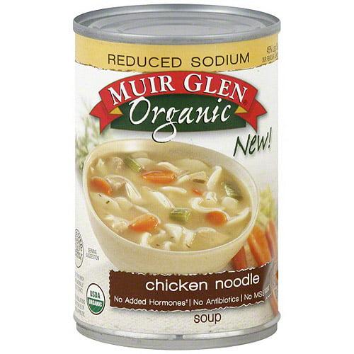Muir Glen Reduced Sodium Chicken Noodle Soup, 14.5 oz (Pack of 6)