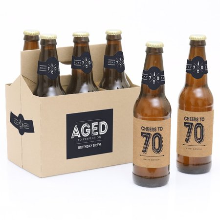 70th Milestone Birthday Party Decorations for Women and Men - 6 Beer Bottle Label Stickers and 1 Carrier - Happy 70th Birthday Decorations