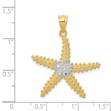14K Rhodium Plated Yellow Gold & Rhodium Diamond Cut Starfish Pendant - image 1 de 2