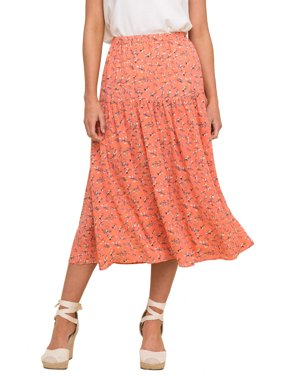 Lush Clothing Womens Printed Tiered Midi Skirt
