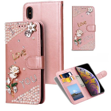 MINI-FACTORY iPhone Xs / X Case Bling Glitter 3D Diamond Crystal Rose Flip Leather Wallet Floral Pearl Cover with Magnetic Closure Card/Cash Slots for iPhone Xs / X - Rose Gold ()