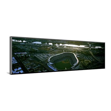 Aerial view of a baseball stadium, Yankee Stadium, New York City, New York State, USA Wood Mounted Print Wall Art