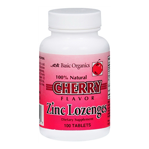 Basic Organics Zinc Lozenges With Cherry Flavor - 100 Tablets