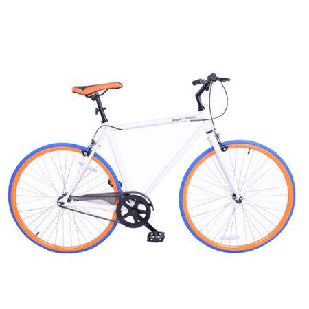 Royal London Fixie Fixed Gear Single Speed Bike - White/Orange/Blue
