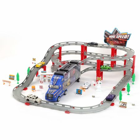 75 Pcs Classic Train Set For Kids Toys with Railway Tracks, Bridges, Container Truck, City Vehicles, Trees, Electric Car](Windy City Classic Cars)