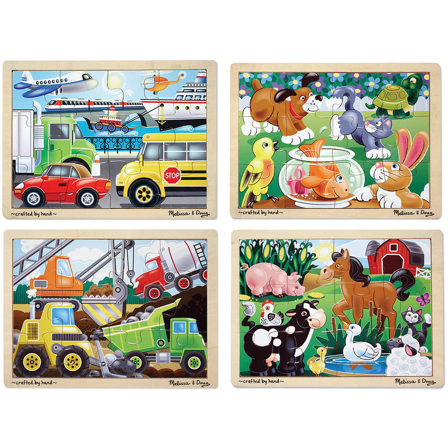 Melissa & Doug Wooden Jigsaw Puzzles Set: Vehicles, Pets, Construction, and Farm (4 puzzles) by Generic