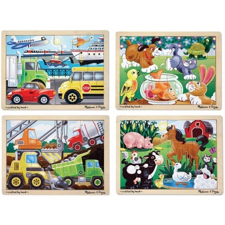 Melissa & Doug Wooden Jigsaw Puzzles Set: Vehicles, Pets, Construction, and Farm (4 puzzles)