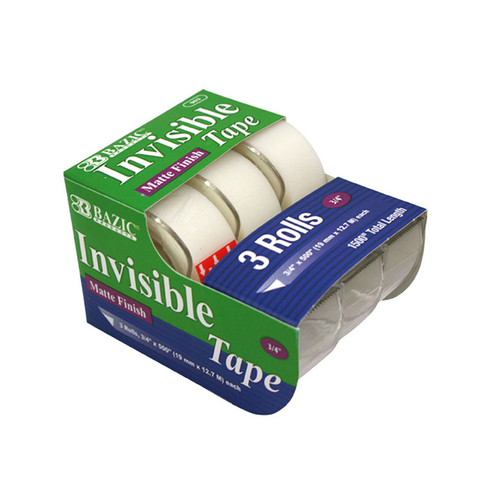 """(Price/Case of 144)Bazic Products 903-144 3/4"""" X 500"""" Invisible Tape (3/Pack)"""