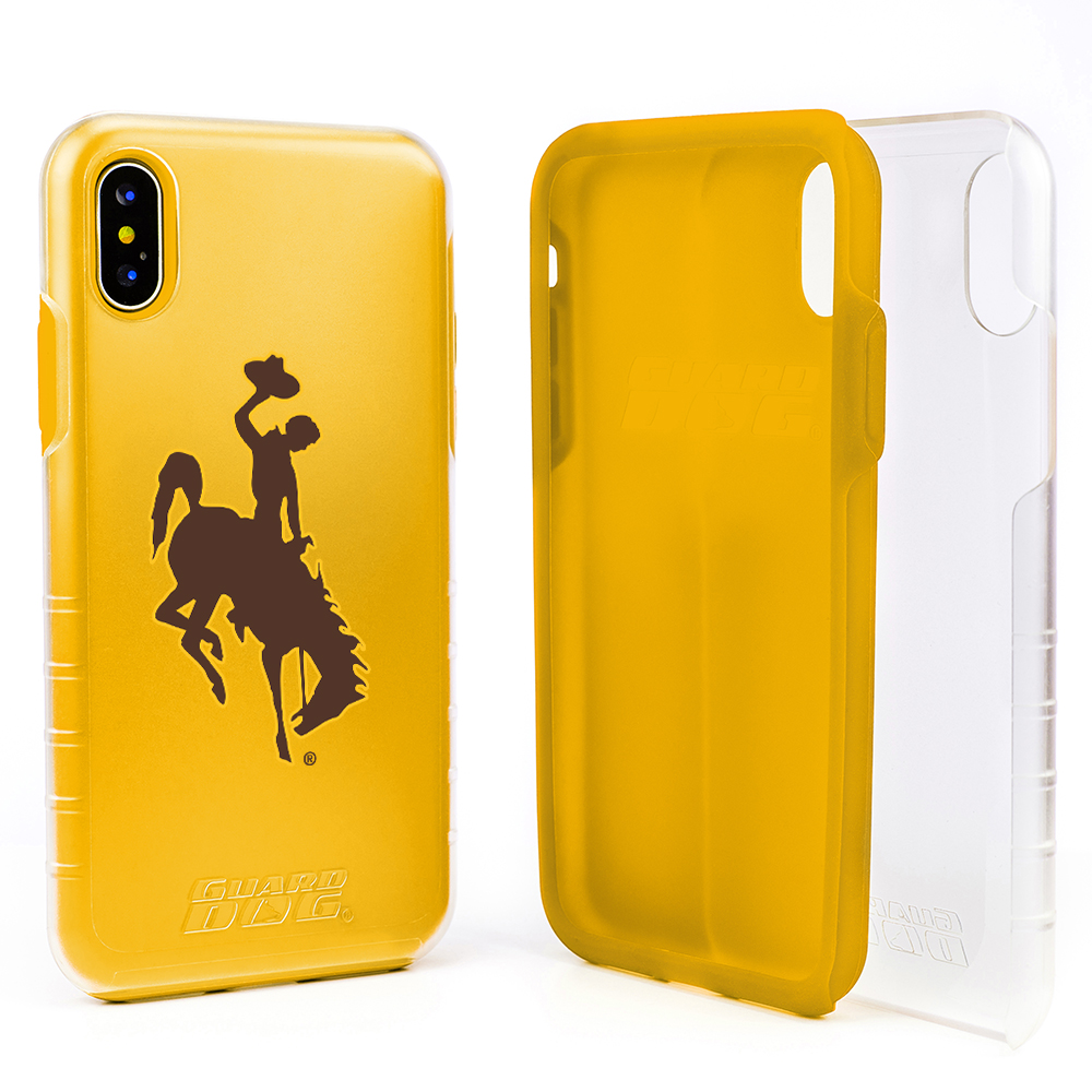 Wyoming Cowboys Clear Hybrid Case for iPhone X / Xs with Guard Glass Screen Protector - Clear with Yellow