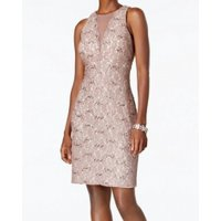 0914174daa73 Product Image Nightway Floral Lace Sequin Mesh Women Petite Sheath Dress