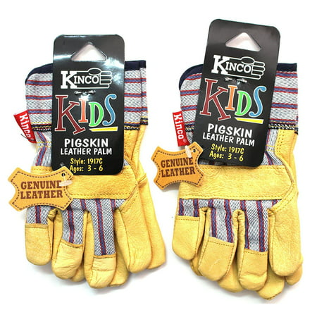 Kinco 1917-C (2 Pack) Work Gloves for Kids made with Soft Durable Pigskin Leather with Safety Cuff and Wing Thumb - Children Ages 3-6