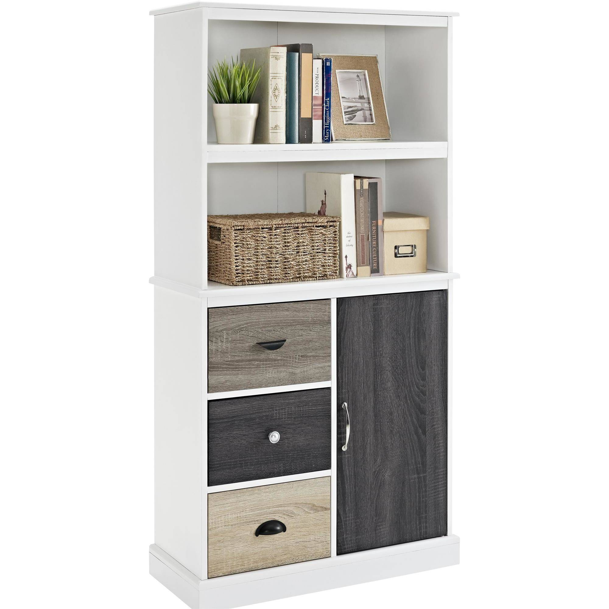 ameriwood home mercer storage bookcase with multicolored door and