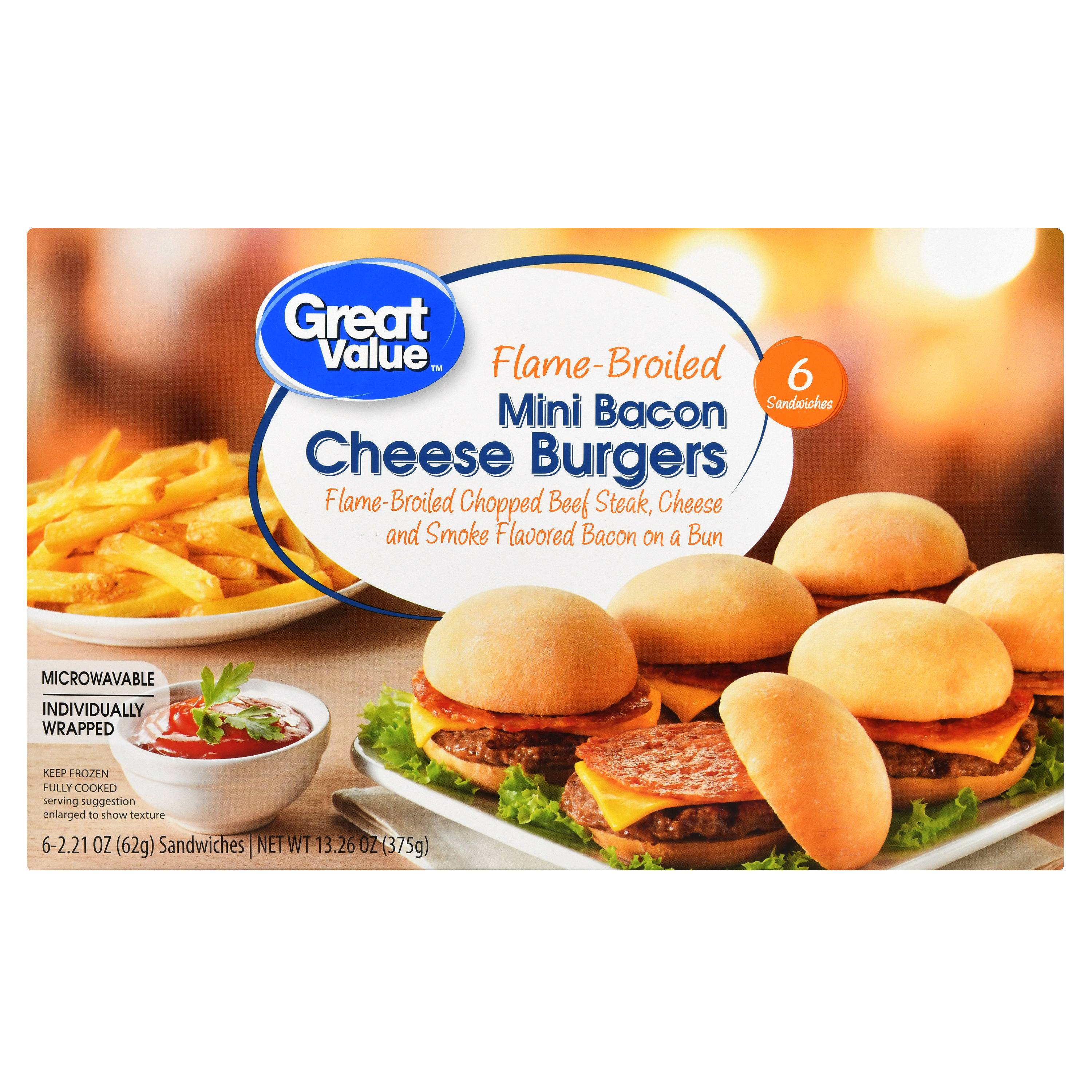 Great Value Frozen Mini Bacon Cheese Burgers, 13.26 oz, 6 Count