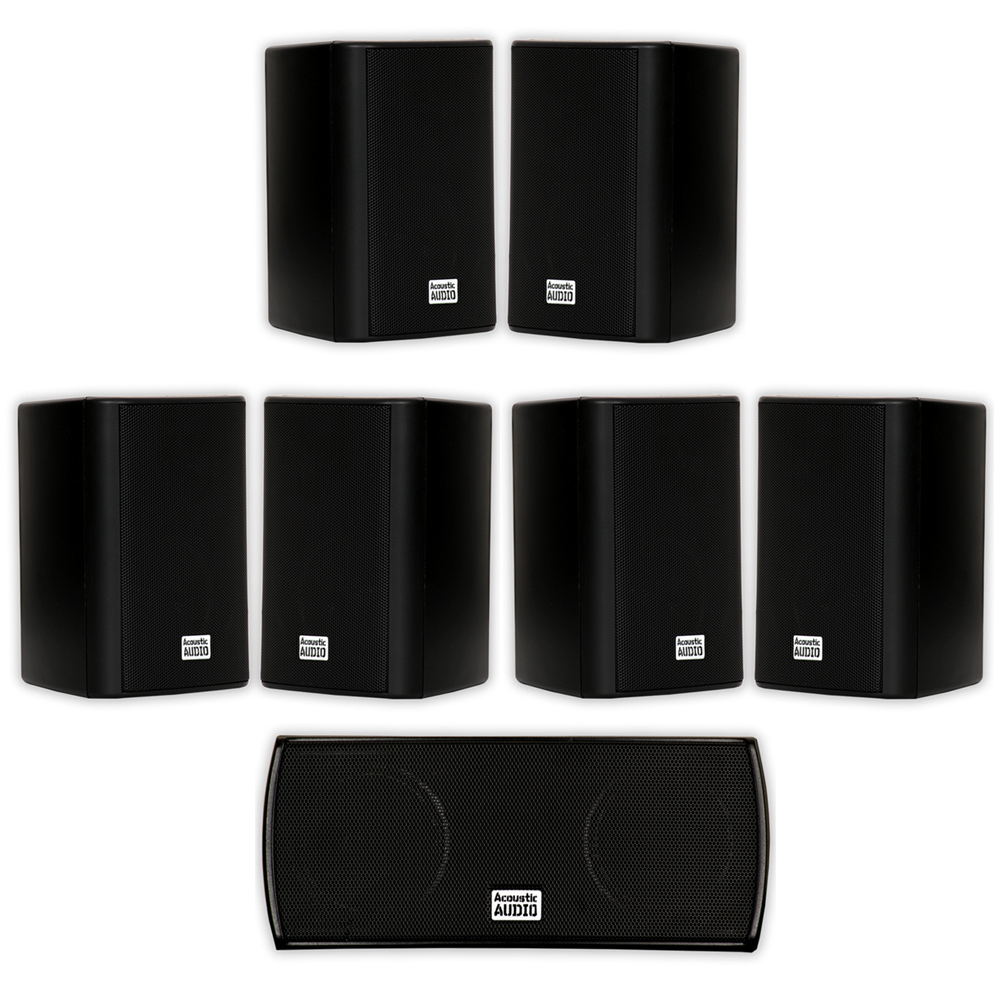 Acoustic Audio AA351B and AA32CB Mountable Indoor Speakers Home Theater 7 Speaker Set