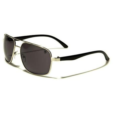 e73aae91ceeb9 KHAN - Khan Brand Metal Plastic Men s Aviator Sunglasses - Silver Gray -  Walmart.com