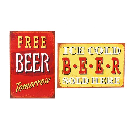 Free Beer Tomorrow Ice Cold Beer Sold Here Metal 12 Inch Wall Signs Set of 2 (Decorative Beer Signs)