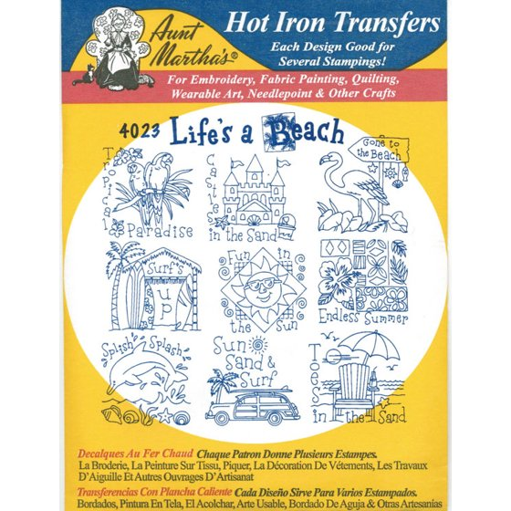 Life\'s A Beach Aunt Martha\'s Hot Iron Embroidery Transfer - Walmart.com