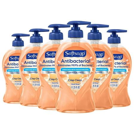(6 Pack) Softsoap Antibacterial Liquid Hand Soap Pump, Crisp Clean - 11.25 Oz