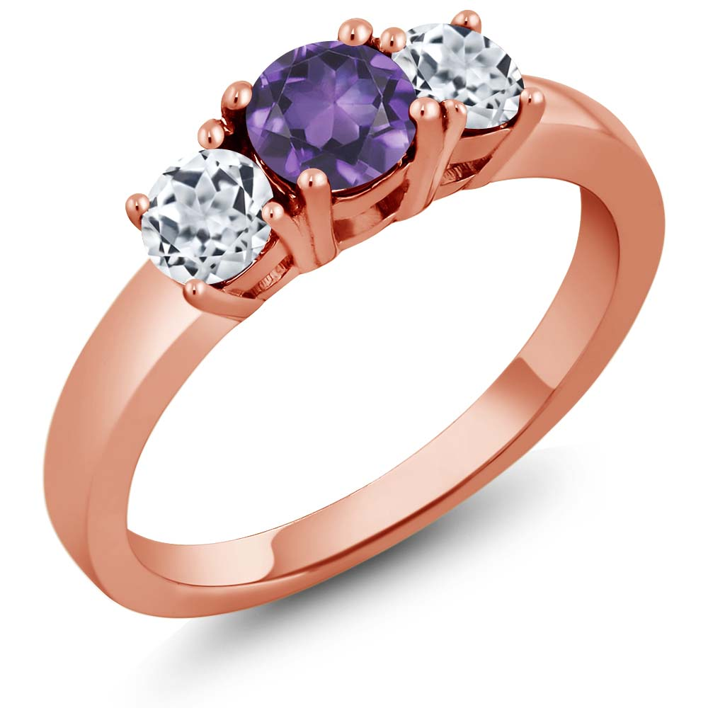1.11 Ct Round Purple Amethyst White Topaz 925 Rose Gold Plated Silver Ring